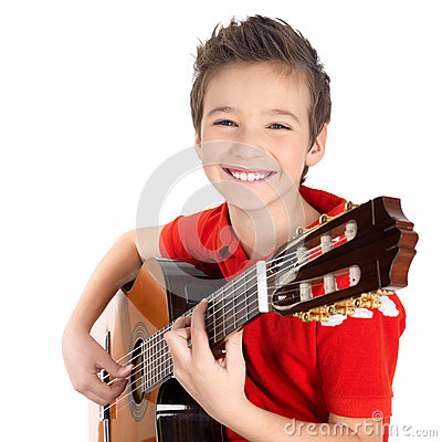 Free Happy Boy Is Playing On Acoustic Guitar Royalty Free Stock Image - 28485356