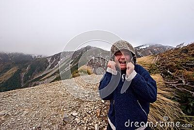 Happy boy on mountain