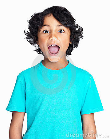 Happy boy with mouth wide open isolated on white