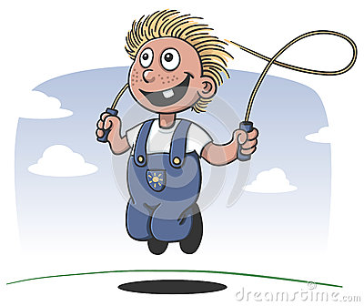 Happy boy playing jump rope