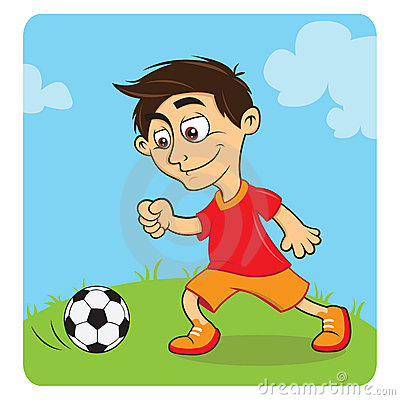 Happy boy playing soccer