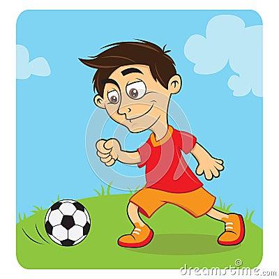 Happy boy playing soccer