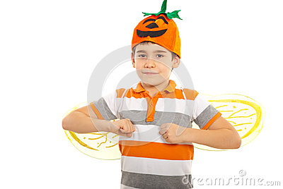 Happy boy with pumpkin hat