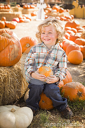 Happy Boy Sitting and Holding His Pumpkin at Pumpkin Patch