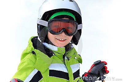 Happy boy in ski helmet