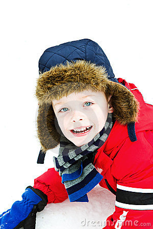 Happy boy in the snow