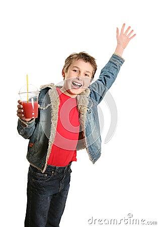 Happy boy waving