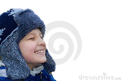 Happy Boy Wearing Winter Hat