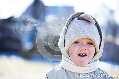Happy boy in winter