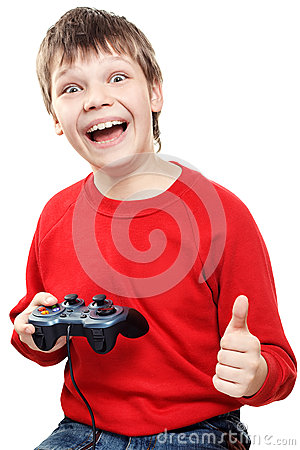 Free Happy Boy With Gamepad In Hands Stock Image - 40868861