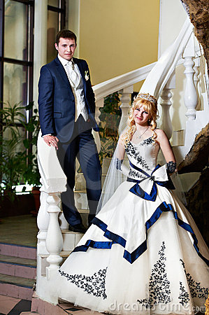Free Happy Bride And Groom On A White Ladder Stock Images - 20468914