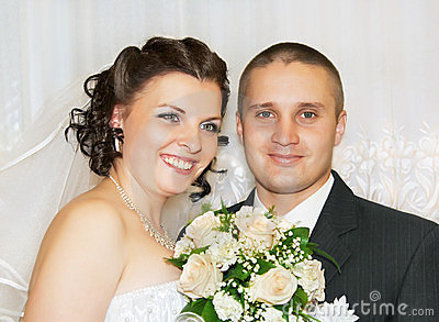 Happy bride and groom.