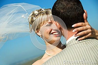 Happy bride and groom outdoor