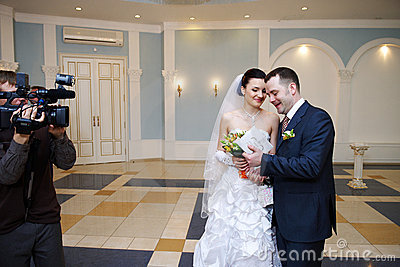 Happy bride and groom on solemn registration