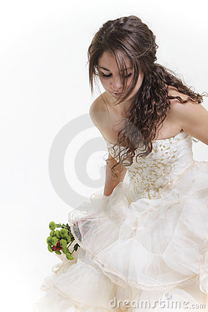 Happy bride in her white wedding dress