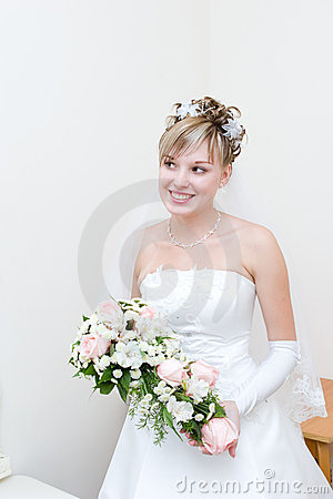 Happy bride at home