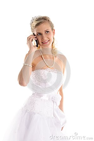 Happy bride with mobile phone