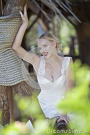Happy bride outdoor