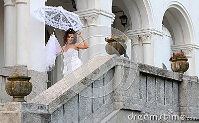 Happy bride smiling