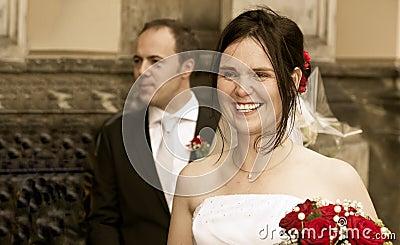 Happy bride vintage look