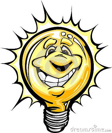 Happy Bright Idea Light Bulb Cartoon Illustration