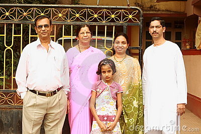 Happy and bright Indian family