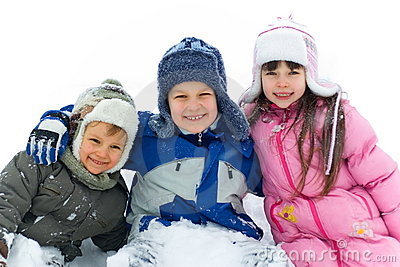 Happy Brothers And Sister In Snow