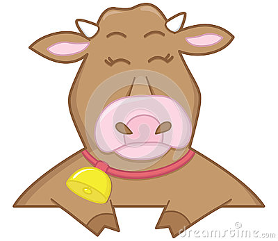 Happy brown cow