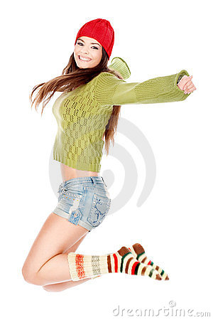 Happy brunette jumping