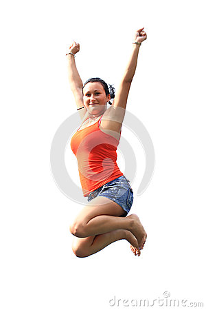 Happy brunette jumping on trampoline