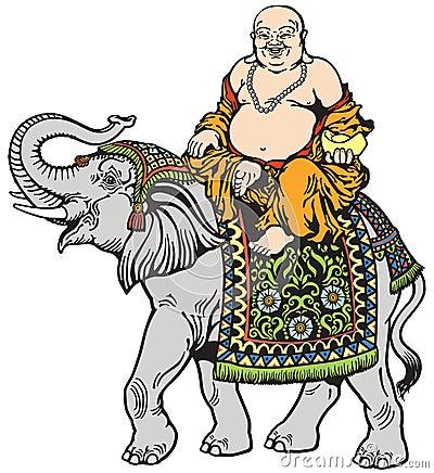 Happy buddha and elephant Vector Illustration