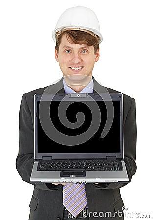 Happy builder shows us laptop screen