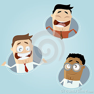 Happy business cartoon men