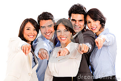 Business group pointing at the camera