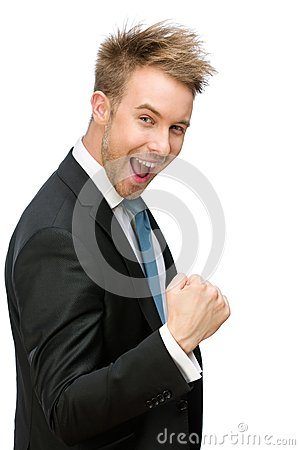 Happy business man fists gesturing