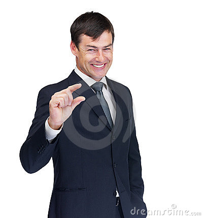 Happy business man gesturing over white