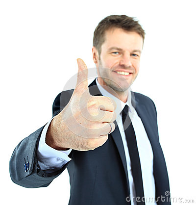 Happy business man going thumbs up