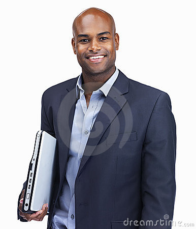 Happy business man holding laptop on white