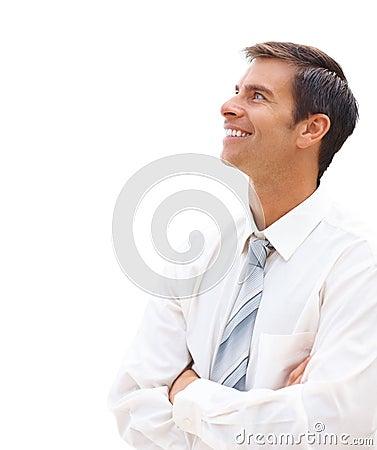 Happy business man looking away