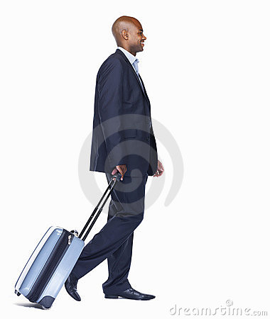 Happy business man with luggage on white
