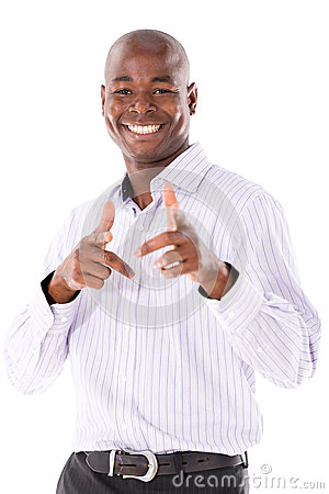 Happy business man pointing