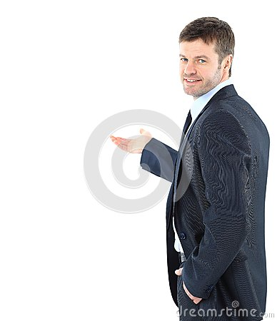 Happy business man presenting and showing with copy space for yo