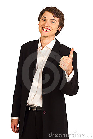 Happy business man showing thumbs