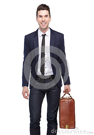 Free Happy Business Man Smiling With Bag Royalty Free Stock Image - 49085266