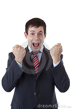Free Happy Business Men Cheers Loud With Clenched Fists Royalty Free Stock Photos - 20403868