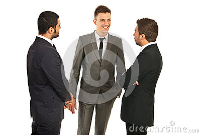 Happy business men conversation