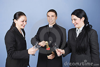 Happy business people celebration
