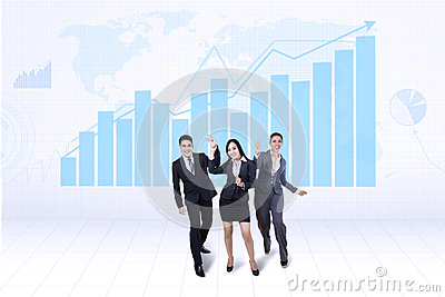 Happy business team with growth graph
