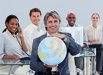 Happy business team at work