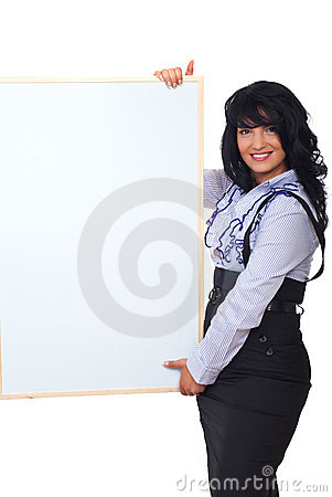 Happy business woman with banner